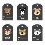 Set of tags with cartoon dogs. Vector illustration.