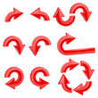 Red round curved arrows. Collection of icons