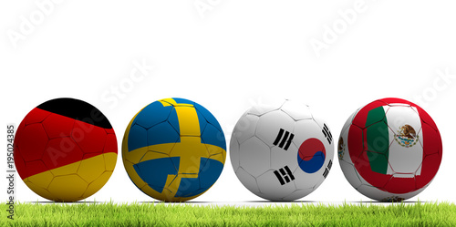Group F Germany Sweden Korea Republic Mexico 3d rendering soccer football balls