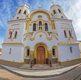 Fish eye view at the Orthodox church in Salonta, Romania - 195024951