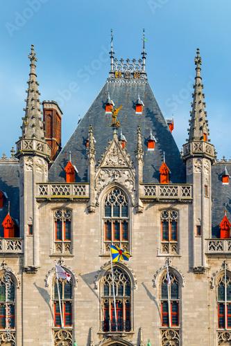 Deurstickers Brugge Front view of The Provinciaal Hof building in Bruges, Belgium