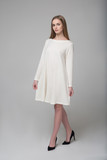 Young beautiful long-haired female model in white dress - 195033159