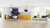 Modern house interior with yellow kitchen. 3D rendering. - 195033521
