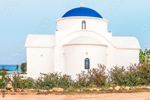 Aluminium Cyprus The multi Denominational Church of St Nicholas on a shore closeup in Paphos, Cyprus.