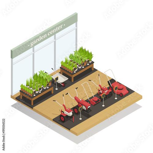 Garden Center Equipment Sale Isometric Composition