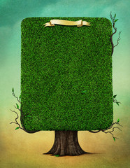 Fancy square tree with branches and  banner for greeting card, book cover or poster.