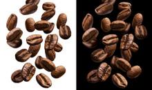 "Постер, картина, фотообои ""Falling coffee beans isolated on white and black background"""