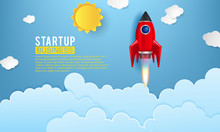 Startup Space Rocket Launch Art Creative Idea Sticker