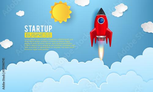 Fototapeta Startup space rocket launch art creative idea