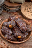 Traditional Middle East dessert, healthy food, big medjool dates fruits. - 195050145