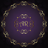 Vintage background, card, invitation with vintage round frame, wedding design. Gold luxury frame and violet background - 195051383