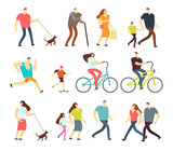 Active people walking, riding bike, running outdoor vector character set