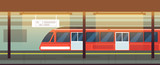 Empty subway station interior with metro train vector illustration - 195051983