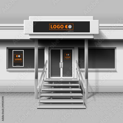Store exterior facade for branding design and advertising banner