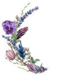 Watercolor spring feather wreath. Hand painted border with lavender, pansies flower, willow, tulip and tree branch with leaves isolated on white background. Easter floral illustration for design. - 195053933