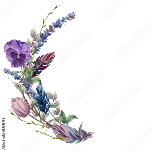 Watercolor spring feather wreath. Hand painted border with lavender, pansies flower, willow, tulip and tree branch with leaves isolated on white background. Easter floral illustration for design.
