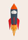 Rocket Fly In The Space Icon Wall Sticker