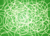 Abstract composition of white volume circles on a green substrate. 3d background.