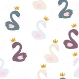 Seamless pattern with princess swan and gold glitter crown. Vector hand drawn illustration. - 195062508