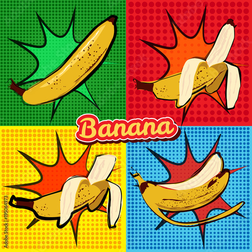 Banana opened banana bitten banana peel banana pop art vector illustration, isolated - 195064973