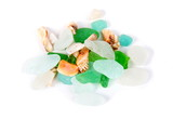 Sea finds. Sea glass and shells on white - 195065570