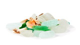 Sea finds. Sea glass and shells on white - 195065581