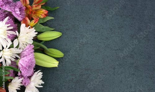 Beautiful Colorful Spring Flowers Bouquet Over Blackboard Texture Dark Background With Copy Space, Horizontal