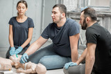 Conversation during the first aid group training indoors - 195068736