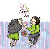 Romantic pair of lovers lies on a blanket. Vector cartoon illustration with the inscription I love you.