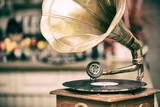 Retro old gramophone radio. Vintage style toned photo