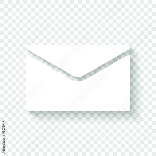 simple letter icon. White icon with shadow on transparent background