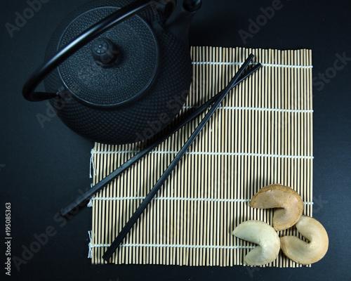 In de dag Zen Asian forture cookies and tea