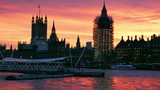 Houses Of Parliament With Scaffolding At Sunset - 195087768