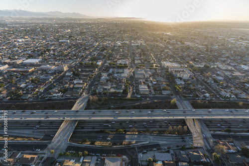 Aerial sunrise view of the double deck 110 Harbor Freeway south of downtown Los Angeles California.