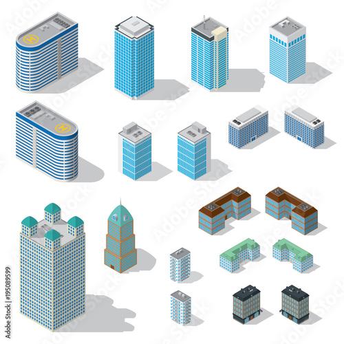 Isometric buildings set on white background