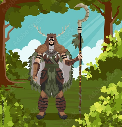 Fototapeta druid powerful character