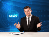 Modern televison presenter telling the news with tehnology background - 195109712