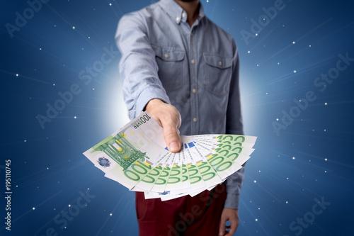 Staande foto Wanddecoratie met eigen foto Businessman holding money