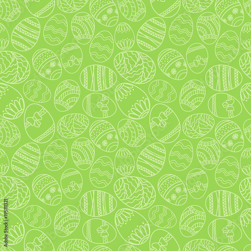 Vector seamless simple pattern with ornamental eggs. Easter holiday green background for printing on fabric, paper for scrapbooking. - 195111321