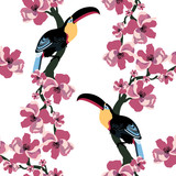 Tropical seamless pattern with colorful toucans and flowers. Summer vector exotic textile texture. Colorful background