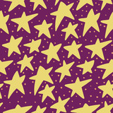 Seamless star pattern, plum background