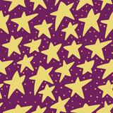 Seamless star pattern, plum background