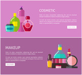 Cosmetic and Makeup Web Set Vector Illustration