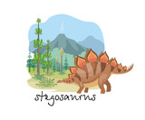 The Image Of A Dinosaur Against The  Of A Prehistoric Landscape Colorful  Illustration Wall Sticker