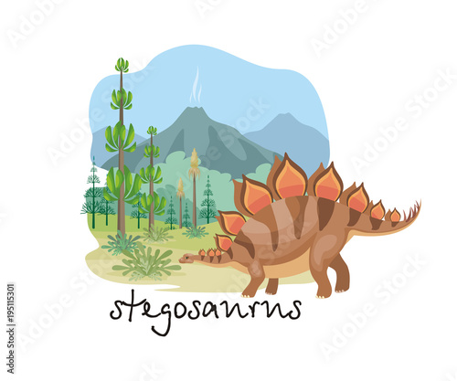 Fototapeta The image of a dinosaur against the background of a prehistoric landscape. Colorful vector illustration.
