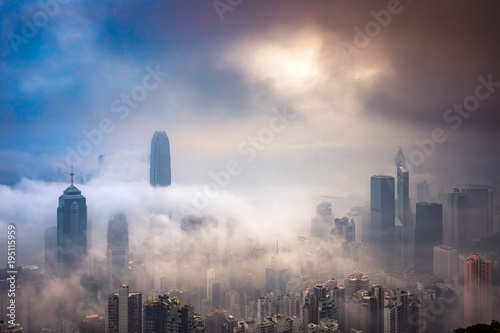 Misty and Cloudy view at Hong Kong