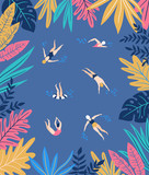 Tropical leaves. Vector frame in scandinavian style. Hand drawn background. - 195117390