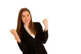 attractive young business woman gesture success isolated over white background - 195120131