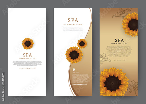 Set of Vertical Banner Sun flower Flora with gold or golden background for hotel salon cosmetics beauty resort and spa, vector illustration