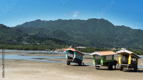 Foto op Plexiglas Groen blauw 由布島の水牛車(西表島)